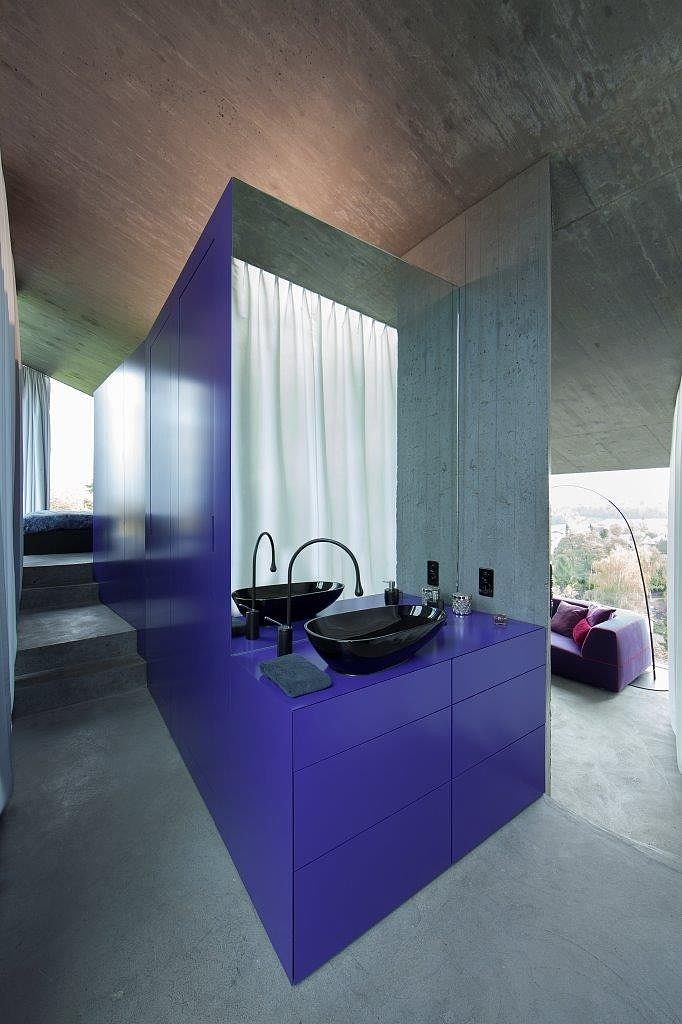 Modern Industrial Home With Purple Accented Features