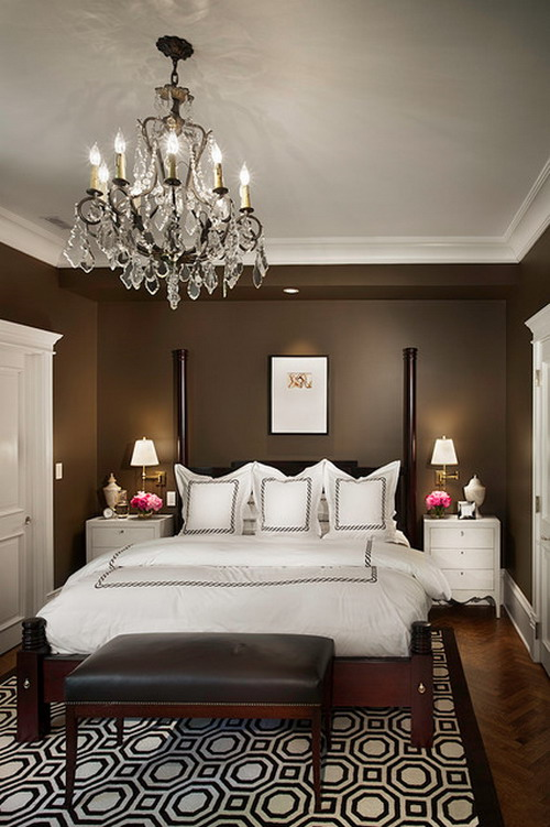 Dark-and-White-Themes-with-Cool-Chandelier-and-Classic-Bed-in-Contemporary-Bedroom-Desing-Ideas
