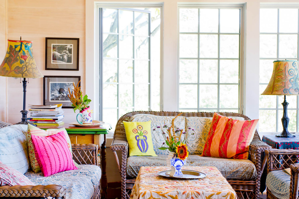 bohemian-home-decor-Family-Room-Farmhouse-with-bright-colors-decorative-pillows