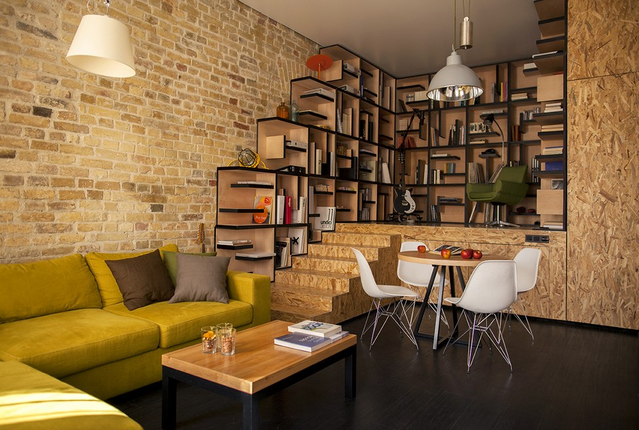 Fantastic-View-of-home-library-inside-the-Kiev-home-Interior-with-Brick-Wall