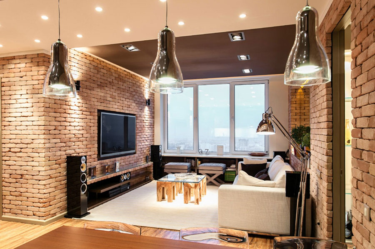 cool-brick-wall-apartment-design-in-beige-interior-concept-also-likeable-three-hanging-lights-fixture-and-pleasant-wall-tv-sets-plus-comfy-sofa-design