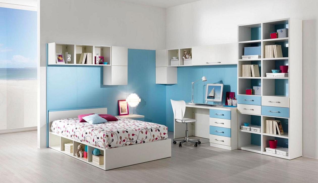 Lovely-Interior-Bedroom-Design-For-Boy-And-Girl-With-Amusing-Flower-Pattern-Bed-Also-Cool-Bookshelf-Ideas-Image
